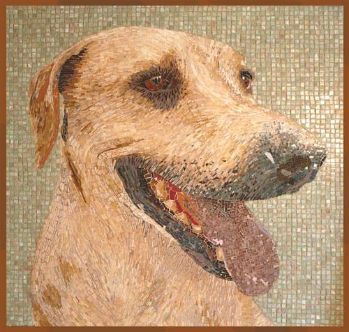 Laboriosos retratos de perros en mosaico
