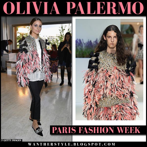 Olivia Palermo in pink feather and sequin jacket giambattista valli fashion week outfit october 1