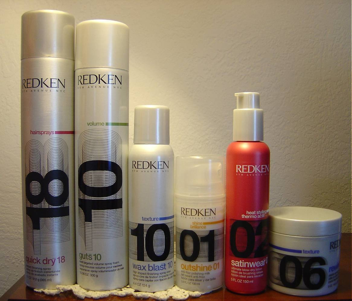 Redken Satinwear 02 Ultimate Blow-Dry Lotion, Guts 10 Volume Spray Foam, Quick Dry 18 Instant Finishing Spray, Wax Blast 10, Outshine 01 Anti-Frizz Polishing Milk, Rewind 06 Pliable Styling Paste.jpeg