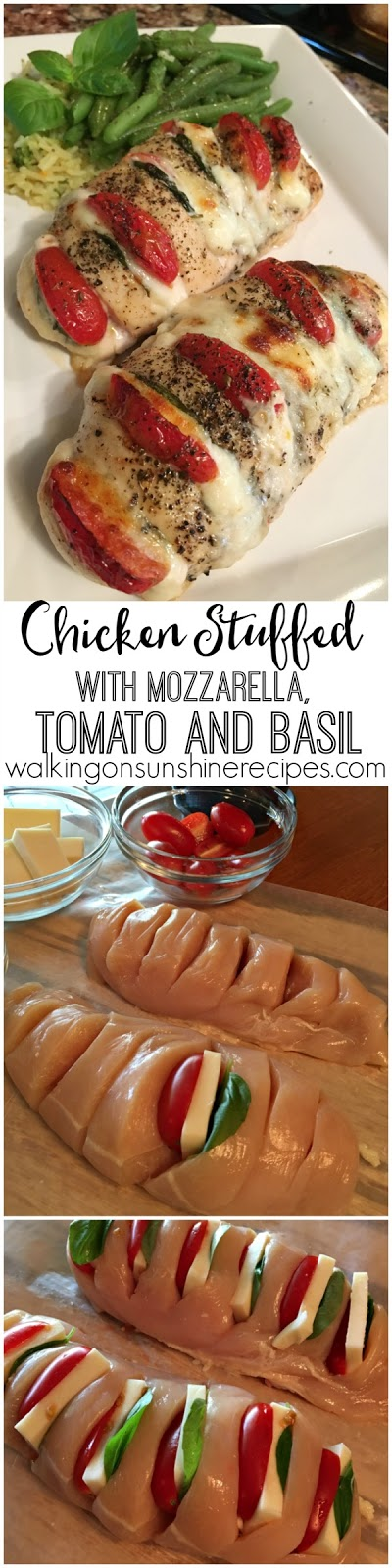 Hasselback Chicken stuffed with mozzarella, tomatoes and basil from Walking on Sunshine
