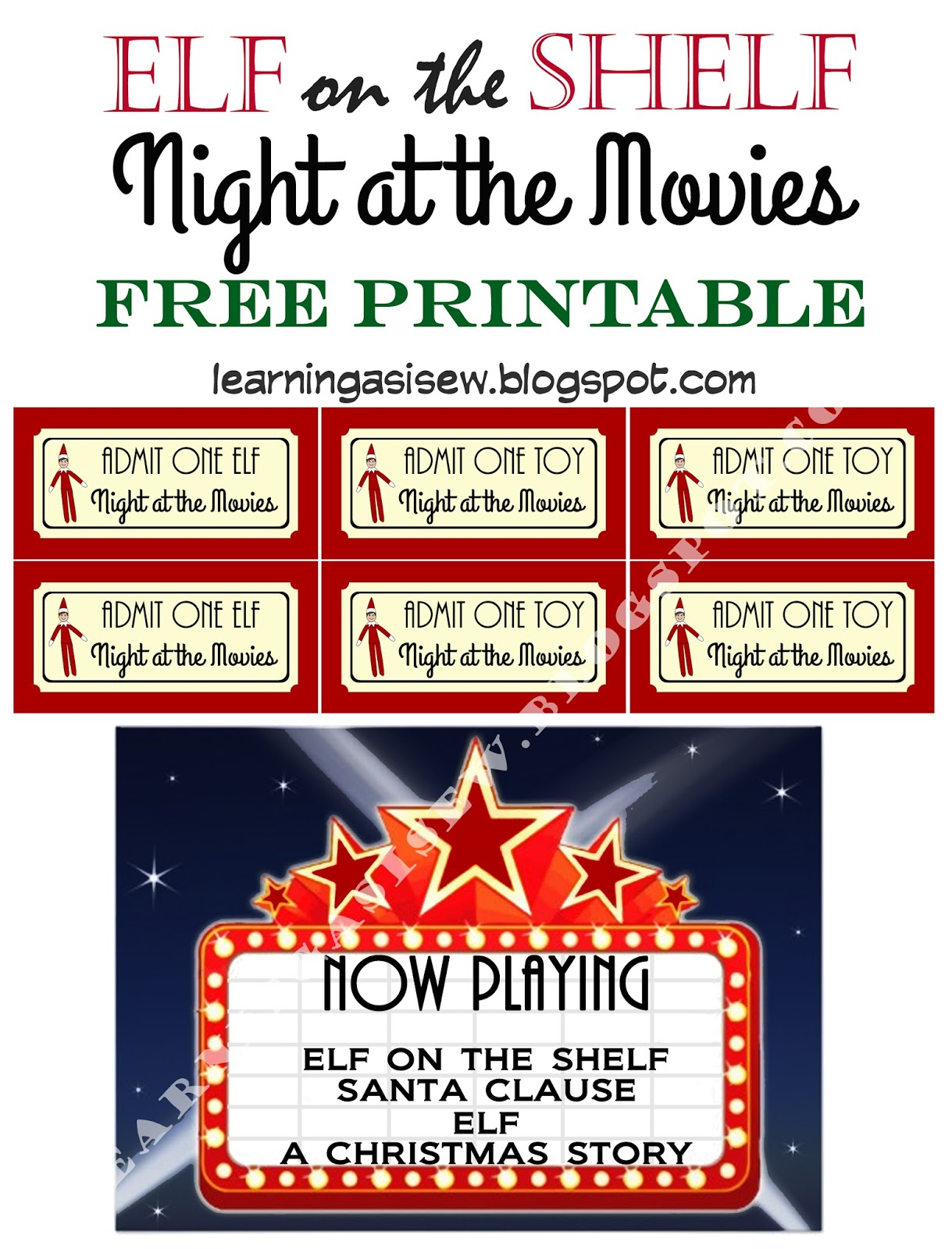 image about Free Printable Movie Tickets titled Discovering As I Sewbake, reduce, and generate: Elf upon the Shelf