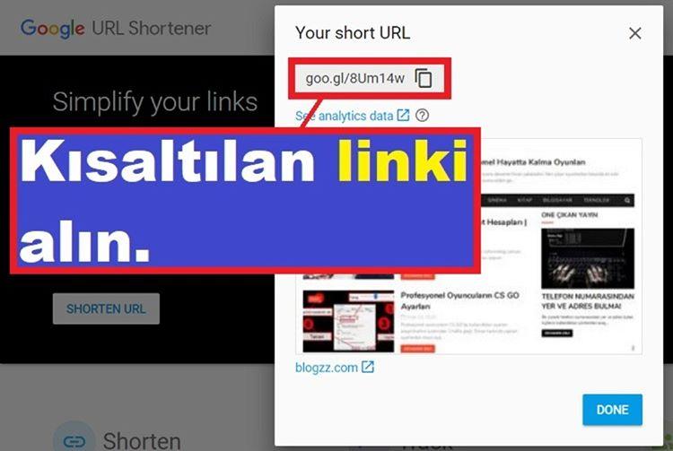 Google Link Kısaltma Servisini Kullanmak