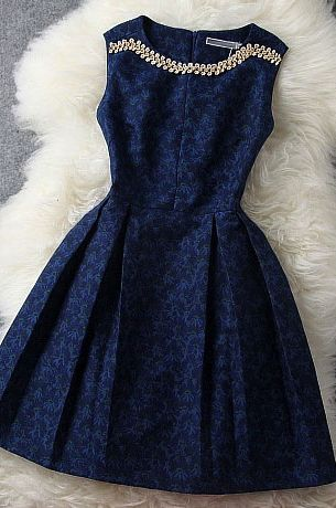 Fashion Blue Beading Awesome Dress
