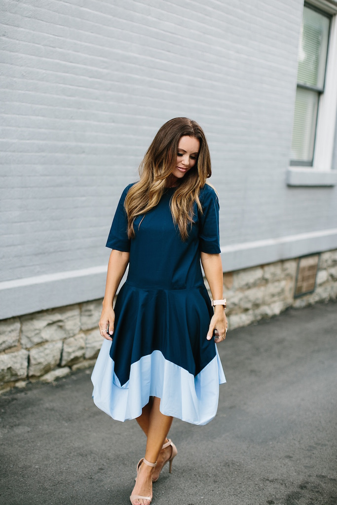 KBStyled: color blocking casual dress dresses navy blue dress