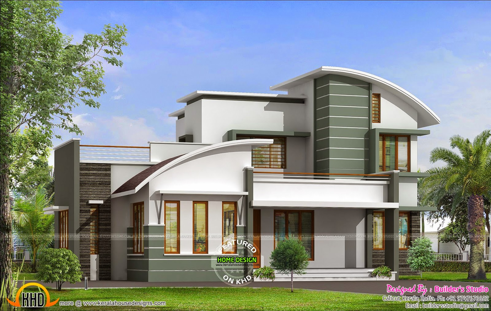Contemporary mix house by builder 39 s studio kerala home for Contemporary home builder