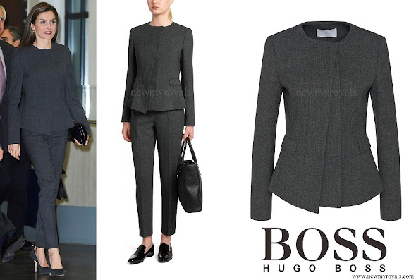 Queen Letizia wore HUGO BOSS jadela stretch virgin wool asymmetrical blazer