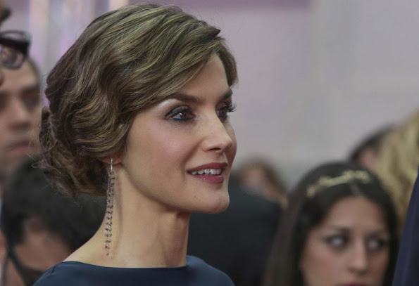 King Felipe and Queen Letizia attended the El Pais 40th anniversary dinner. Cortana Valentina Dress