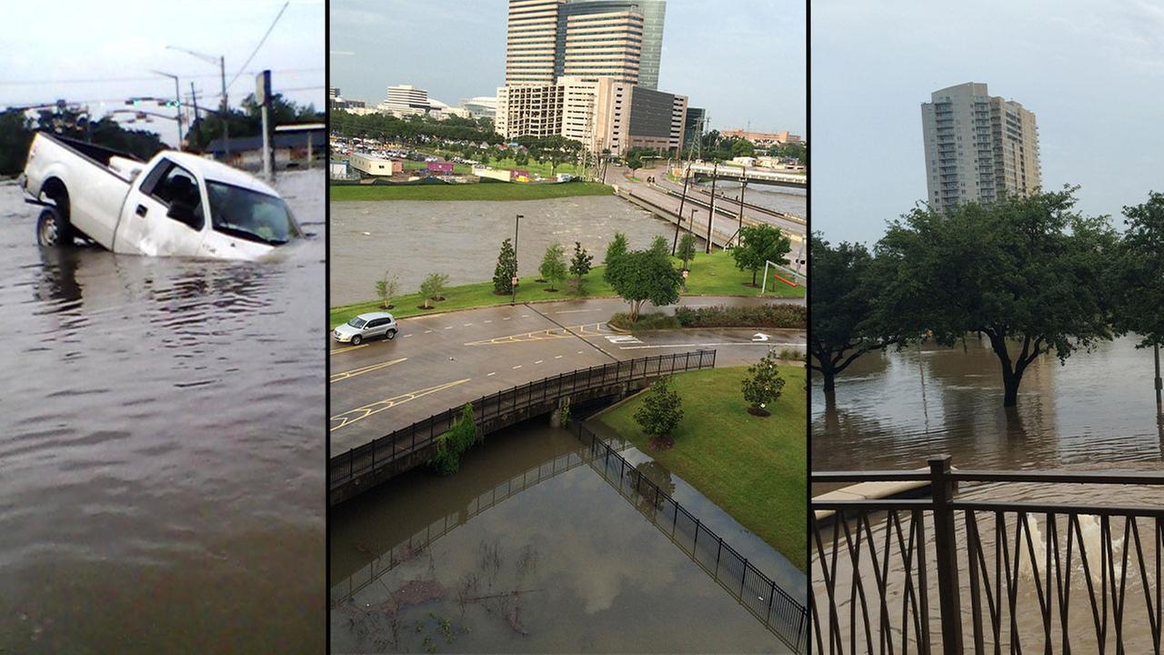 Horrific Houston Texas flood, Reporter saves man