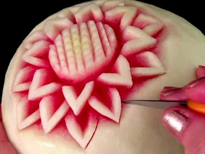 simple flower watermelon fruit carving arts