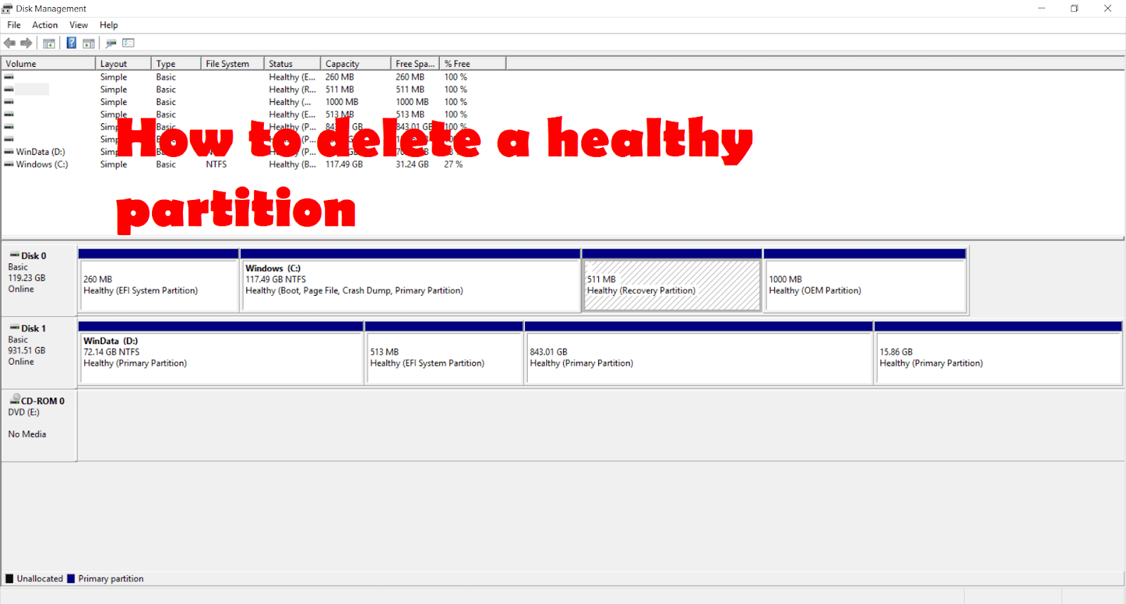 How to delete a healthy partition, recovery partition, system