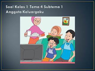Soal Tematik Kelas 1 Tema 4 Subtema 1 Keluargaku