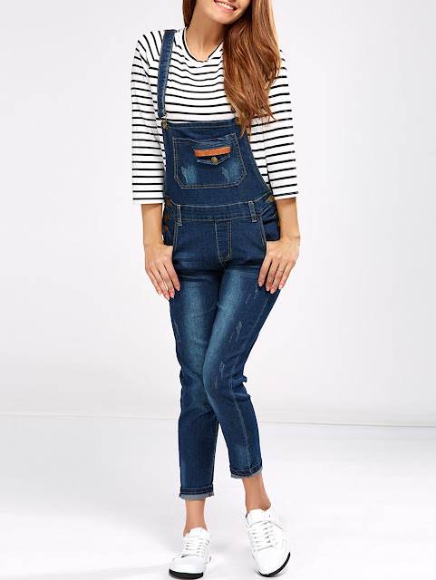 Denim Pencil Overalls