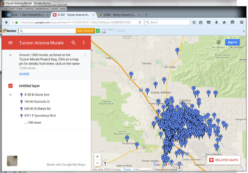 The Tucson Murals Project Murals Map Updated - Map of the whole world with names