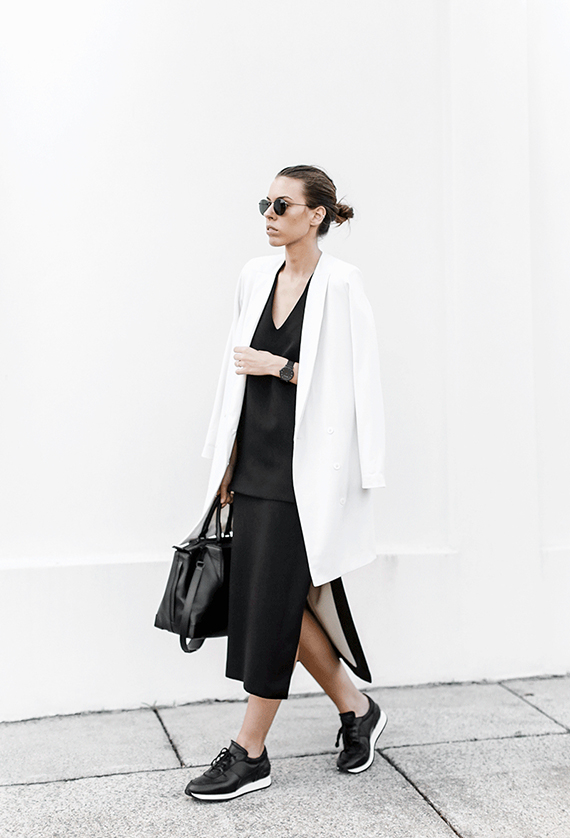 Sport luxe black and white outfit by Modern Legacy