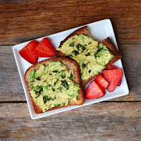 Paleo Toast with Avocado and Strawberries