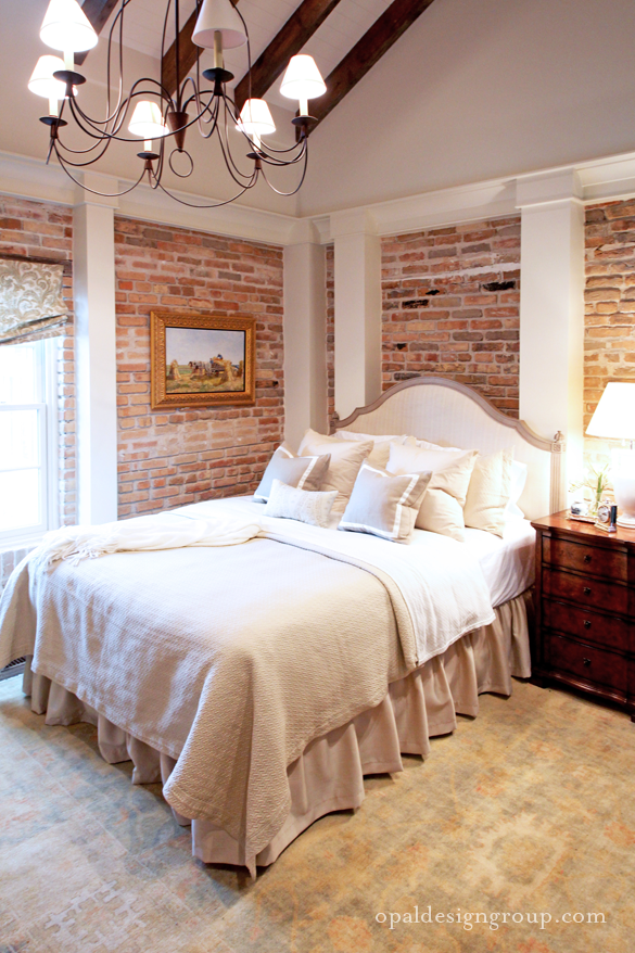 astounding bedroom brick wall | Mix and Chic: Cool design firm alert- Opal Design Group!