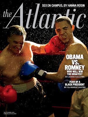 Obama and Romney Slugfest Boxing on Atlantic Magazine Cover