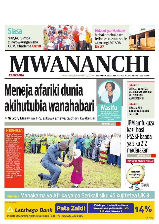 Habari zilizopo katika magazeti yaleo februari 20,2019