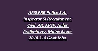 APSLPRB Police Sub Inspector SI Recruitment Civil, AR, APSP, Jailer Preliminary, Mains Exam 2018 314 Govt Jobs Online