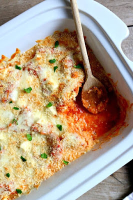 Slow Cooker Chicken Parmesan Lasagna Casserole from 365 Days of Slow Cooking featured for Casserole Crock Saturdays on SlowCookerFromScratch.com