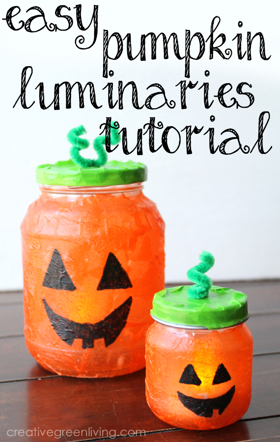 Halloween pumpkin luminary craft made with recycled jars
