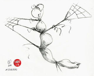 Ghost all wrapped-up - pencil on paper - illustration and design by Cesare Asaro - Curio & Co. (Curio and Co. OG - www.curioandco.com)