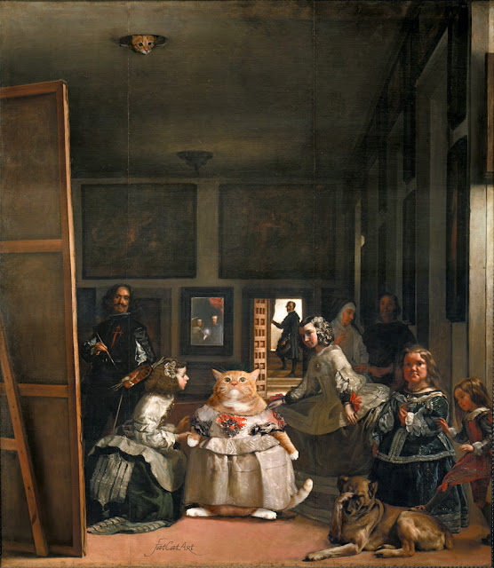 Las Meninas by Diego Velázquez with the ginger cat of Svetlana Petrova