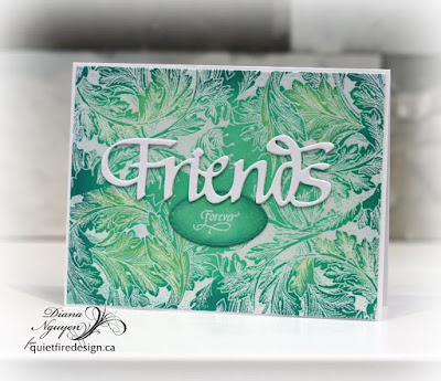 Friends with leafy embossed background