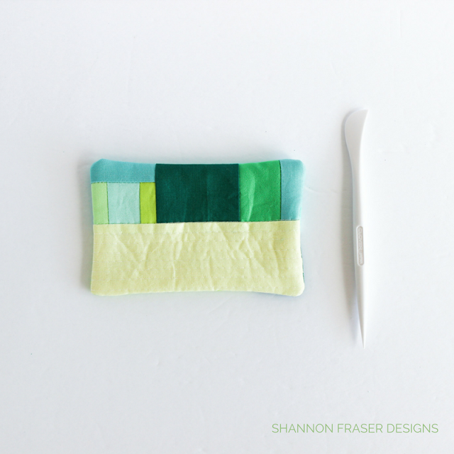 Modern Quilted Pin Cushion in progress | Pocking the corners out with Clover Hera Slim Marker | Modern Quilting | DIY | Free Tutorial | Shannon Fraser Designs | RJR Fabrics | Cotton Supreme Solids