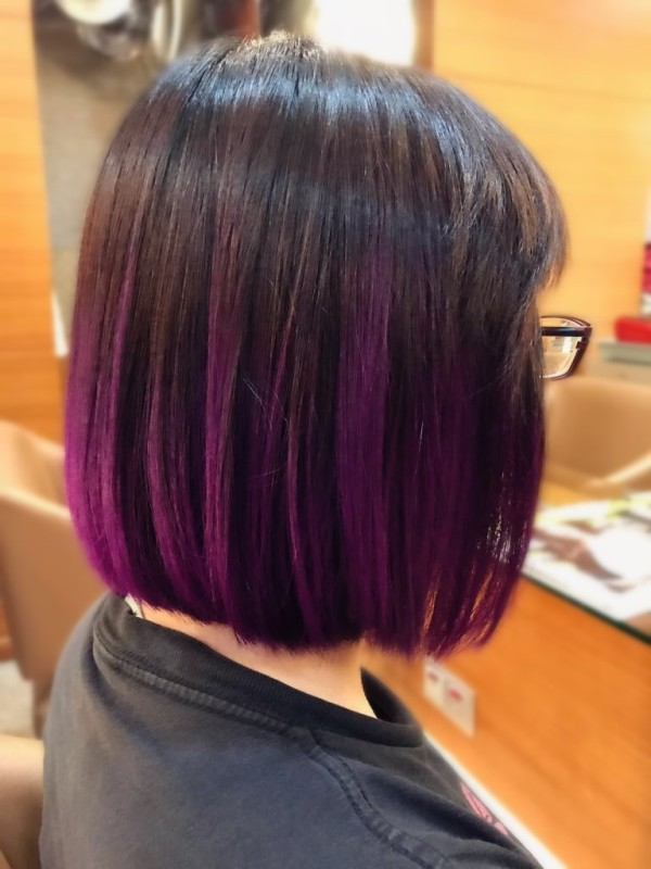 christmas hairstyles round up 2017 purple balayage