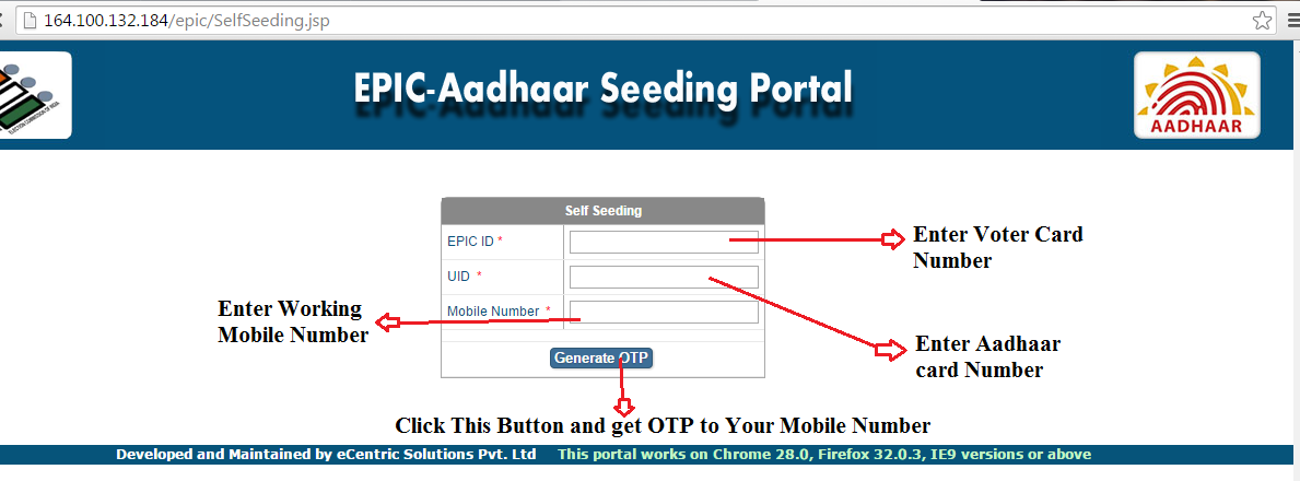 EPIC Voter ID Card Link with Aadhaar Card Number @ EPIC Aadhaar Seeding Portal