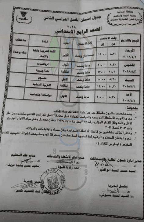جدول امتحانات الترم الثاني 2018