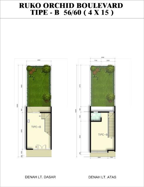 Denah Ruang Ruko ORCHID tipe B, 56/60 Citra Indah City