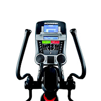 Schwinn 470's console with Dual Track 2 blue backlit LCD displays