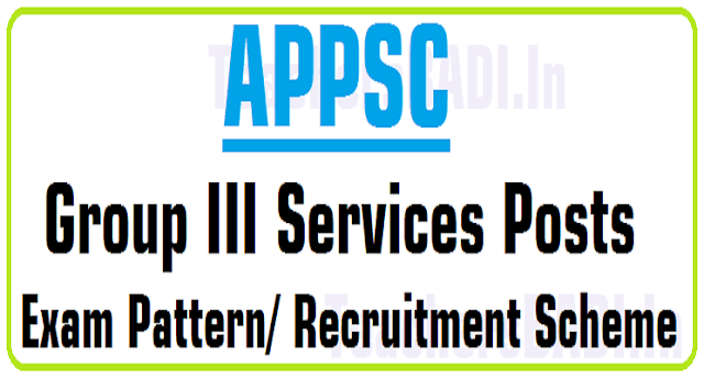 APPSC Group III Services Posts, Exam Pattern/ Recruitment Scheme