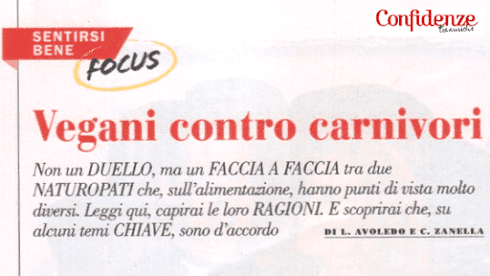 Sulla rivista Confidenze Luca Avoledo parla di dieta vegana