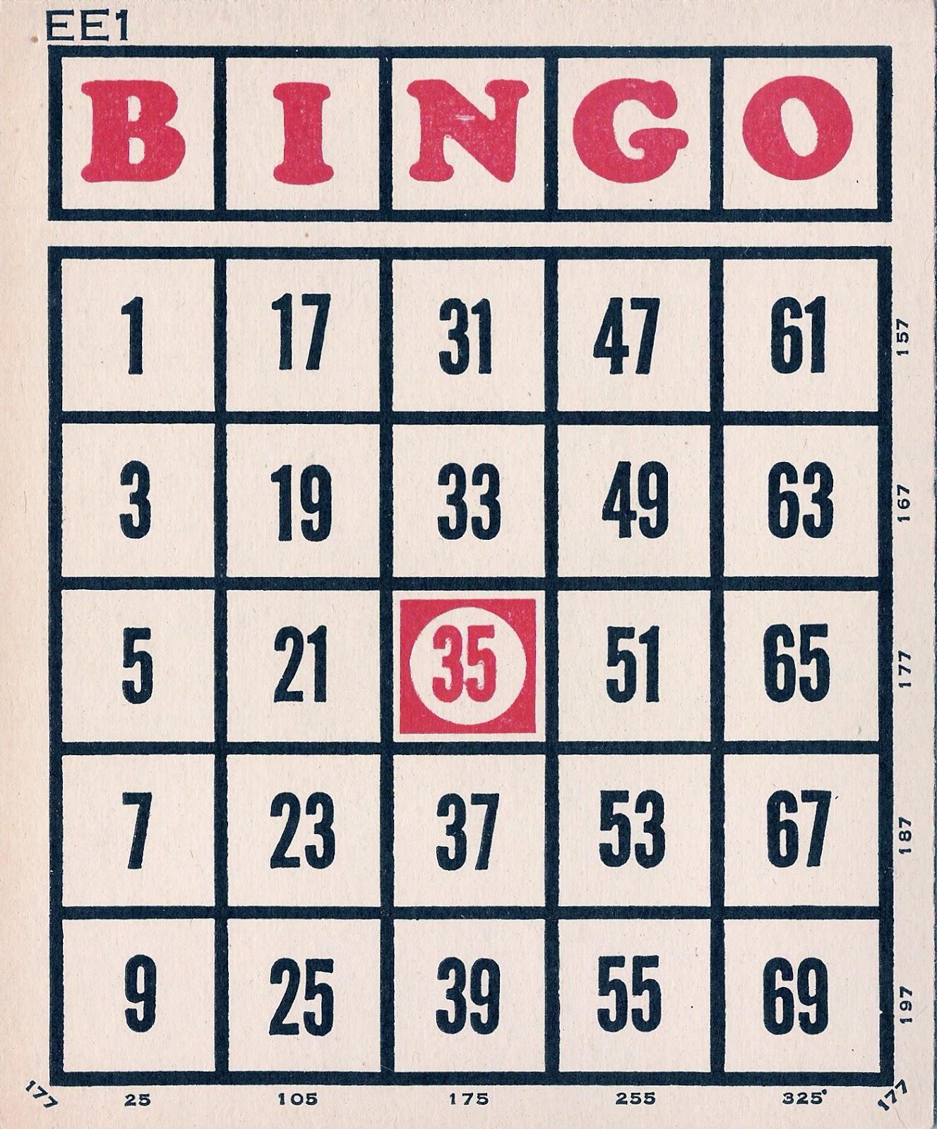 Vintage Bingo Card 21