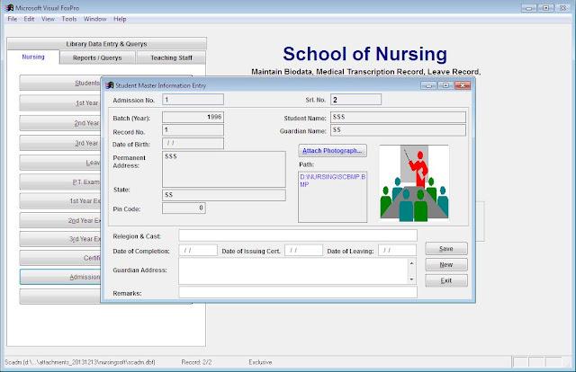 Admission Register Entry Nursing school software