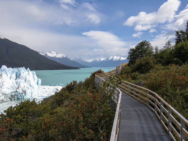 Boardwalk, Perito Moreno Glacier and blue water beyond near El Calafate Argentina