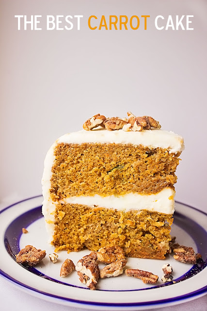 This perfect carrot cake is moist and delicious! Filled with a fluffy cream cheese filling and topped with a light buttercream frosting. So easy to make and no raisins or nuts inside!