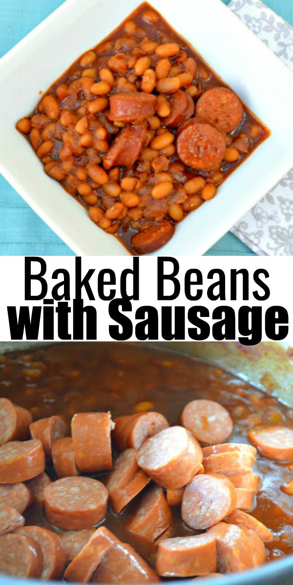 Baked Beans with Sausage recipe is an easy filling dinner recipe with a crock pot option made using dried beans from Serena Bakes Simply From Scratch.