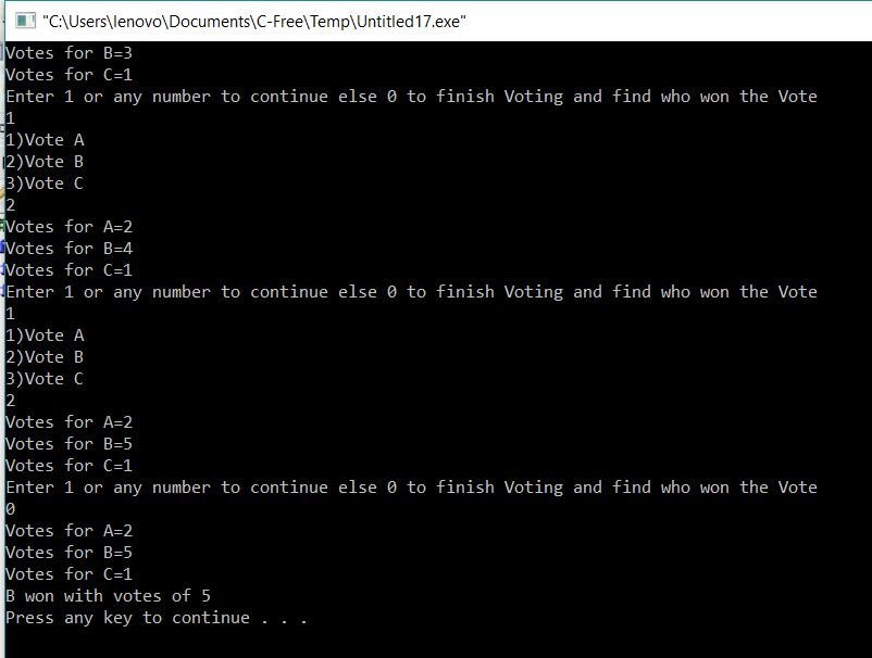 Voting System using Static storage Class