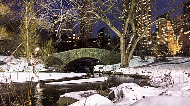 Passeio no Central Park em Nova York em Novembro