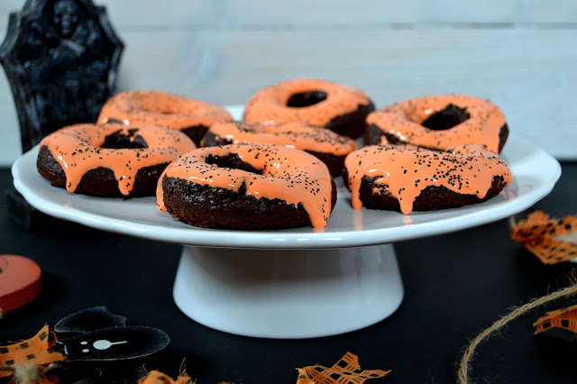 chocolate and marmalade baked doughnuts