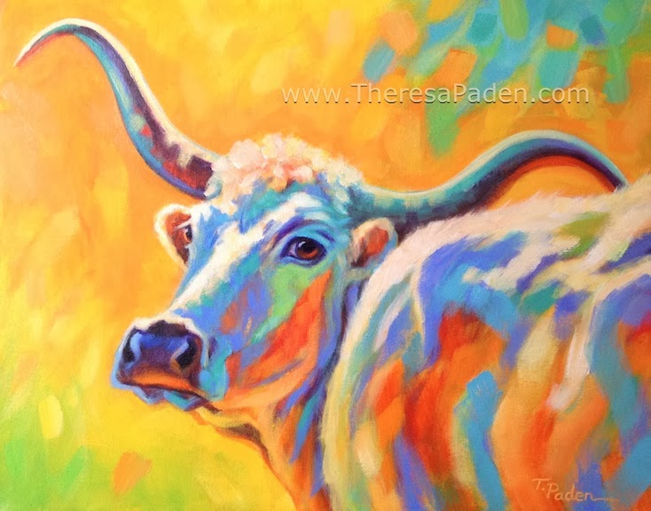 f15a1e03d4e Paintings by Theresa Paden  Abstract Longhorn Cow Painting in Bright ...
