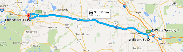 Trip map - TLH to Wellborn to White Springs
