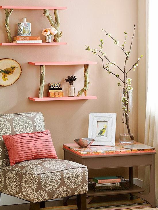 Fofura do Dia: prateleiras cor de rosa apoiadas com galhos. Achados de Decoração