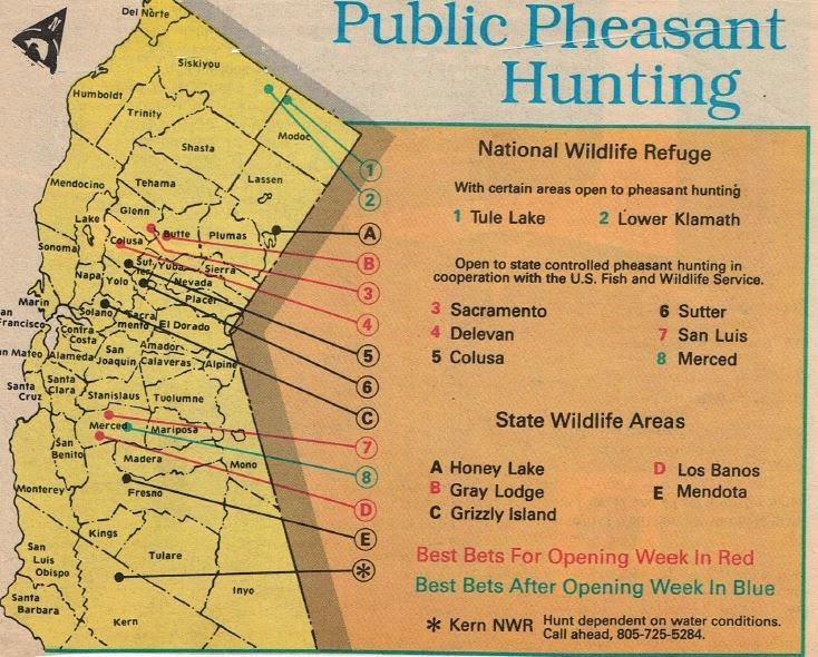 pheasant hunting map California refuges and Oregon
