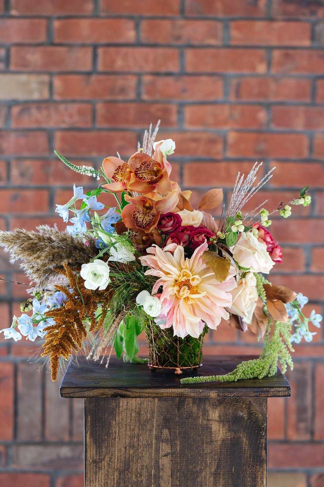 fall wedding centerpiece copper floral utah florist centerpieces orchids flowers gold branches event cafe grass sahara roses dinner peach ranunculus