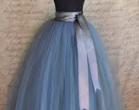 designer long blue tutu gown